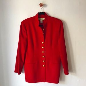 Dior Vintage Red Jacket w/ Gold Insignia Buttons